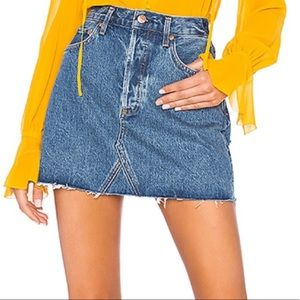 Agolde Quinn High Rise Mini Skirt Blue Denim